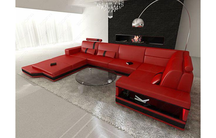 #Leder Wohnlandschaft MESSANA in rot-schwarz - Exklusiv bei #Sofa Dreams!