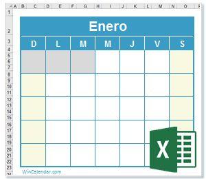 Calendario Excel Calendario en Blanco