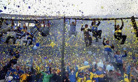 Kicking off: Boca Juniors fans at La Bombonera stadium in Buenos Aires.