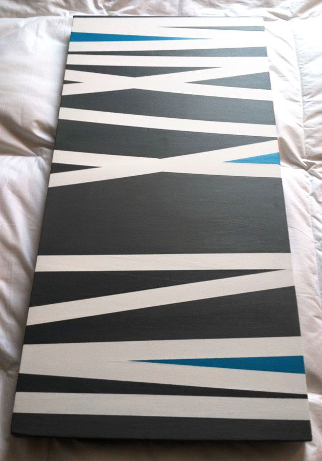 First DIY project done. $30: 15x30 canvas, grey & teal acrylic paint, painter's tape. Perfect for my new bedroom colors scheme.. Perfect except purple instead of teal blue.