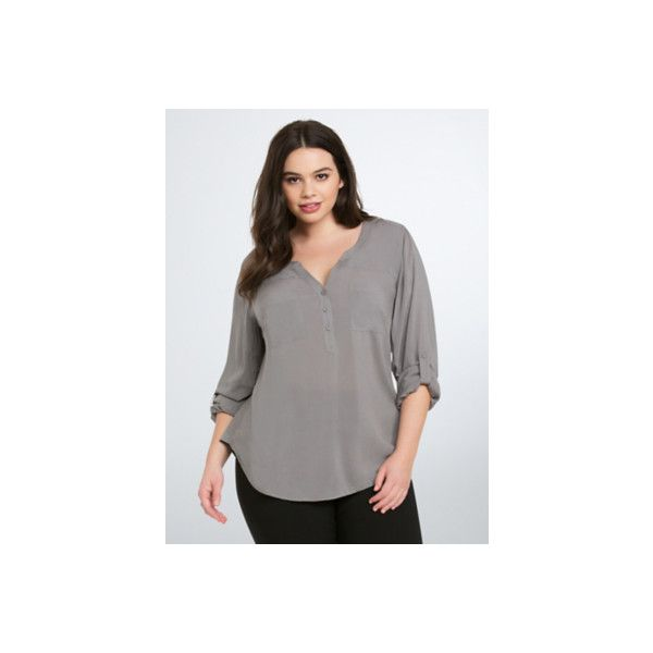 Torrid Challis Pullover Blouse ($34) ❤ liked on Polyvore featuring tops, blouses, grey, plus size, wet look top, plus size tops, plus size pullover, womens plus tops and sweater pullover