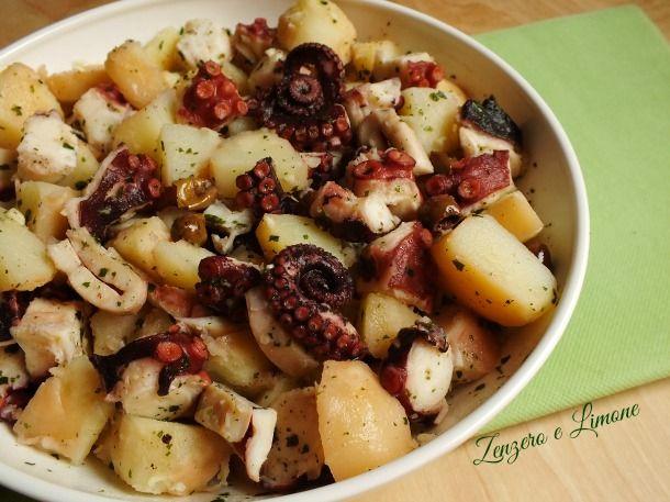 Polpo con olive nere e patate