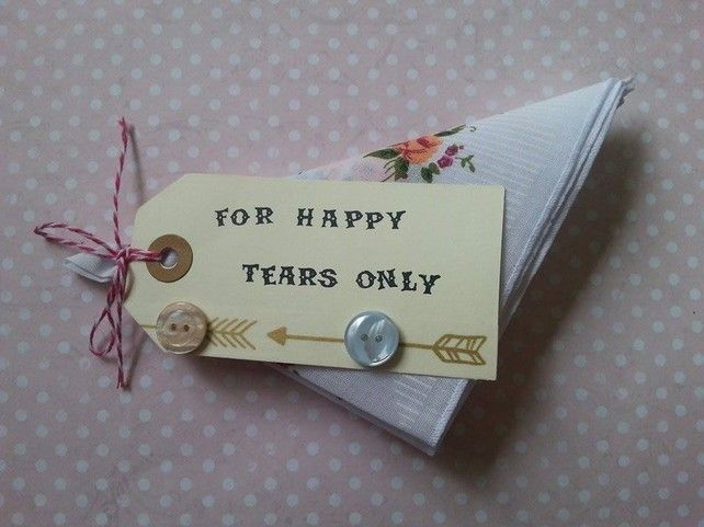 wedding favour hankie with chic arrow detail and buttons £1.80