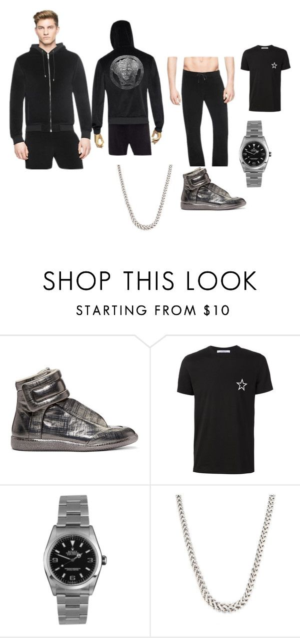 """""""Versace Tracksuit"""" by ashgoins ❤ liked on Polyvore featuring Maison Margiela, Givenchy, Rolex, men's fashion, menswear and ynvs"""