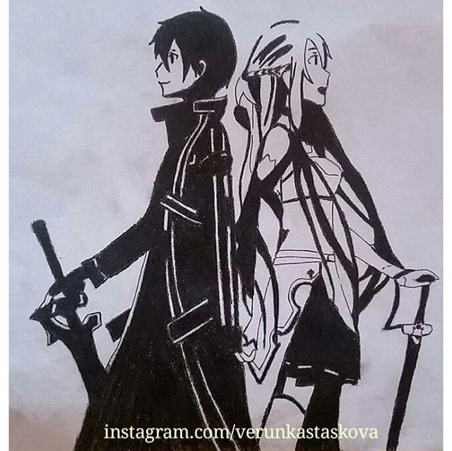 Paper drawing, pencil. Anime/manga: Sword Art Online [Kirito x Asuna]