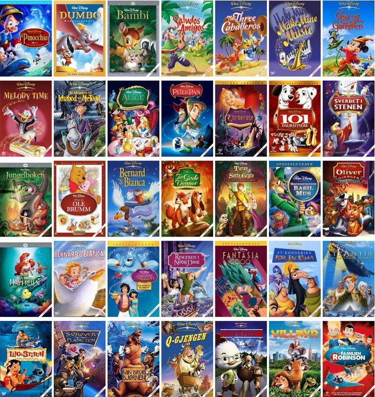 Peter Pan, Askepott, Løvenes Konge, Lady og Landstrykeren, Dumbo, Robin Hood, Aladin, Alice i Eventyrverden, Ringeren i Notre Dame, Sjørøverplaneten, Min bror bjørnen, Tarzan, Lilo og Stich, Herkules, Keiserens nye stil: et kongerike for en lama