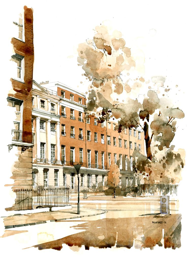 Watercolour Sketch - Property in Bryanston Square, West London www.nickhirst.co.uk
