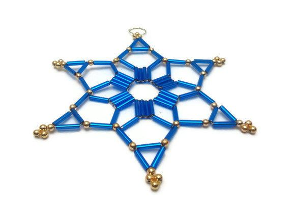blue seed bead christmas star ornament by Kreativprodukte, €9.00