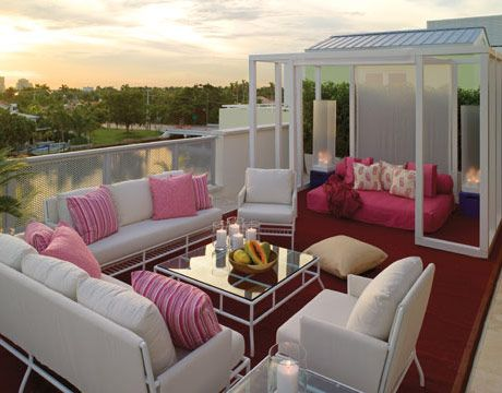 @: Patio Design, Rooftops Patio, Outdoor Rooms, Outdoor Living, Decks, Dreams House, Pink, Outdoor Spaces, Dreamhous