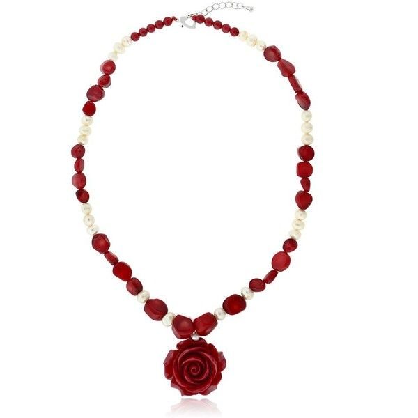 """18"""" Simulated Red Coral Cultured Freshwater Pearl Carved Rose Necklace... ($25) ❤ liked on Polyvore featuring jewelry, earrings, cultured pearl earrings, imitation earrings, carved earrings, red coral earrings and freshwater cultured pearl earrings"""