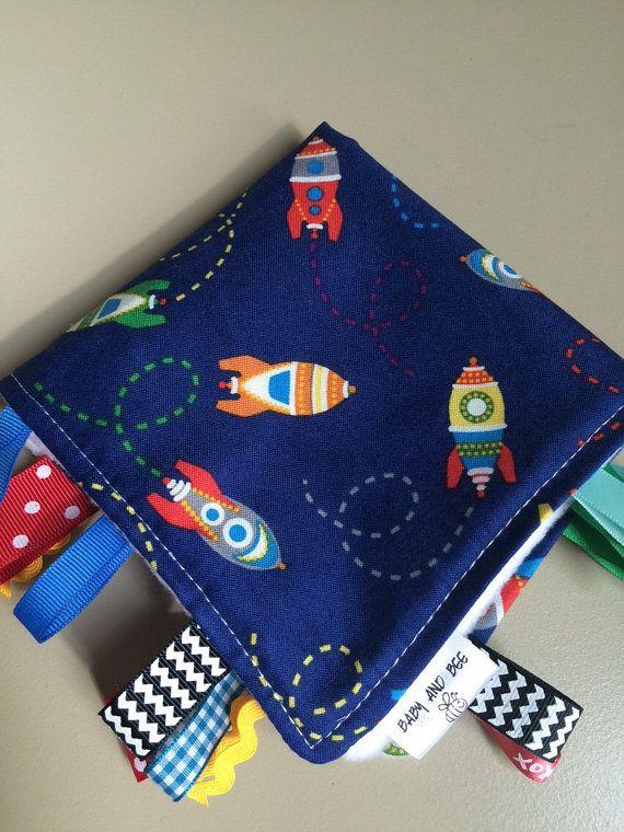 Spaceship Sensory Ribbon Blanket by BabyAndBee on Etsy