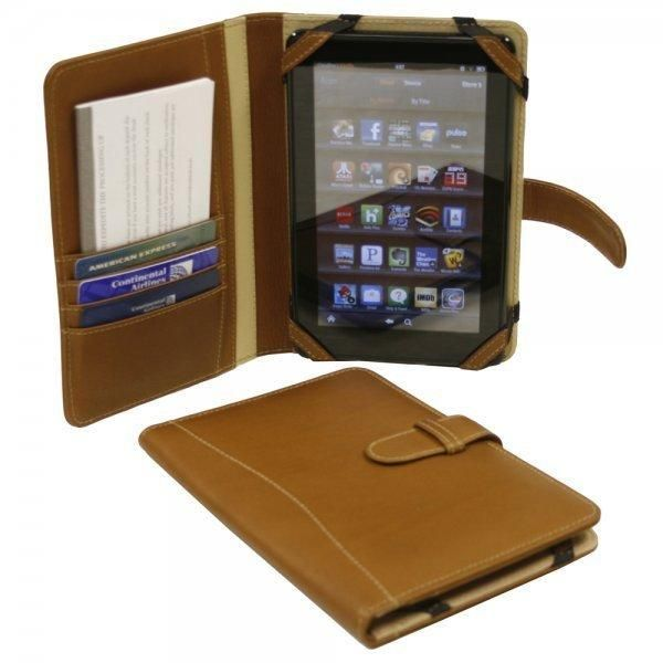 This Kindle Fire Case with Tab Closure by Piel Leather is made of luxurious full grain cowhide leather.  The folio flips open to reveal a Kindle Fire stand and multiple organizer pockets. ... More Details