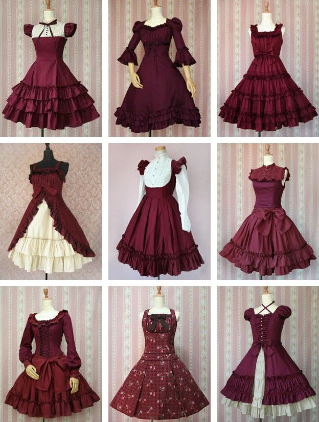 9 different styles of Lolita dress.  http://24.media.tumblr.com/tumblr_m6scqgQSm31rskfzmo1_1280.jpg