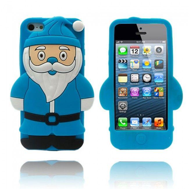Santa iPhone 5/5S Suojakuori (Sininen) - http://lux-case.fi/santa-iphone-5-5s-suojakuori-sininen.html