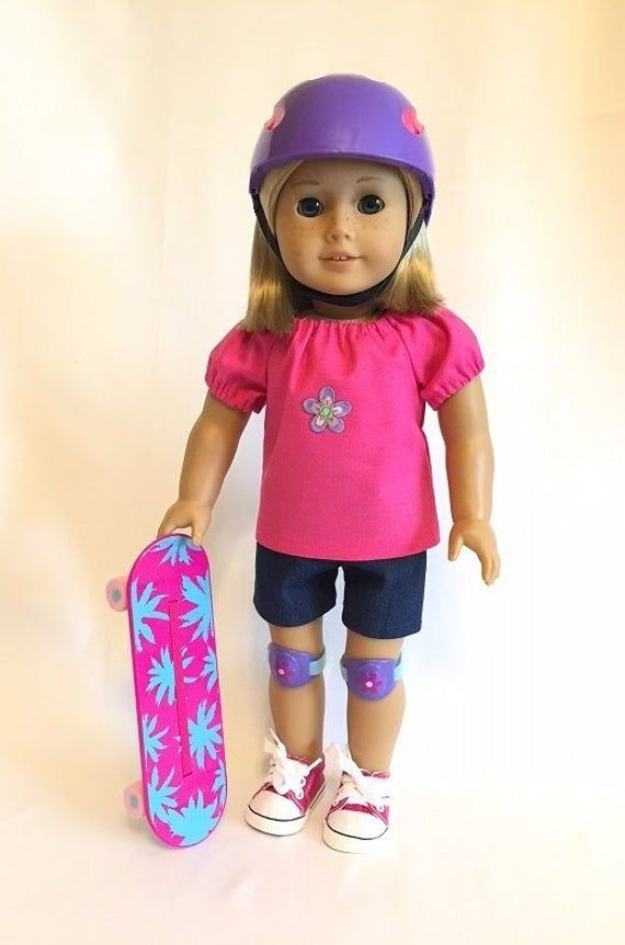 American Girl Doll Skateboard Set Outfit NEW!!