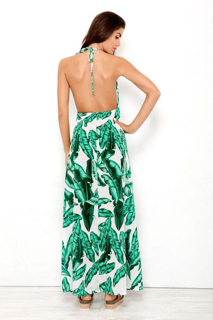 Μάξι φόρεμα - Tropical μοτίβο λευκό-πράσινο   check it: http://www.dress.gr/product/davina-forema-lefko/