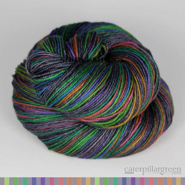Self-striping SHAWL yarn - stripes stay consistent as the shawl grows!! CaterpillarGreen Yarns