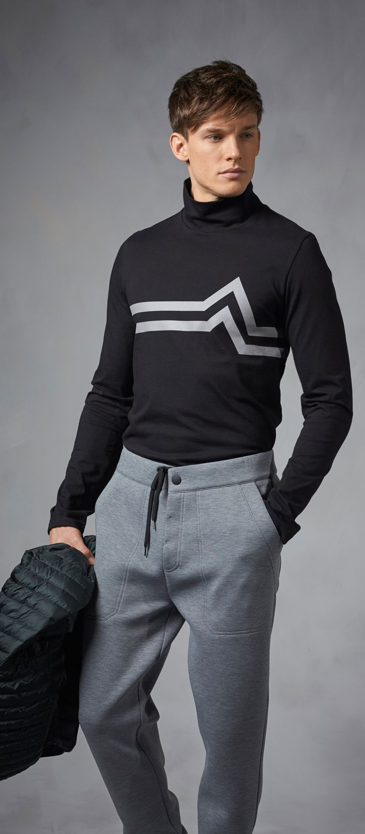 Feel the heartbeat of the mountains: the edgy, simple line design on this state of the art base layer from Bogner Fire + Ice is reminiscent of the ECG reading, and it's definitely got our hearts beating for ski season.