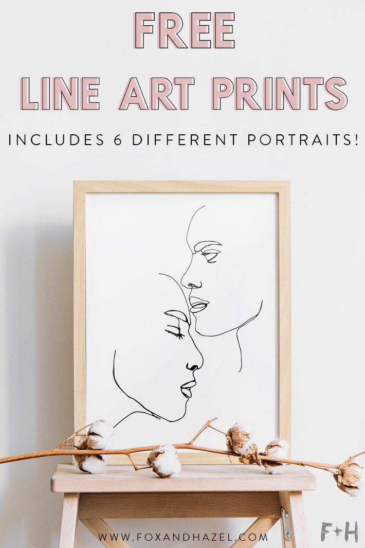 6 Unique Free Line Art Print Portraits Fox Hazel Minimalist Wall Art Printable Free Wall Art Free Printable Wall Art