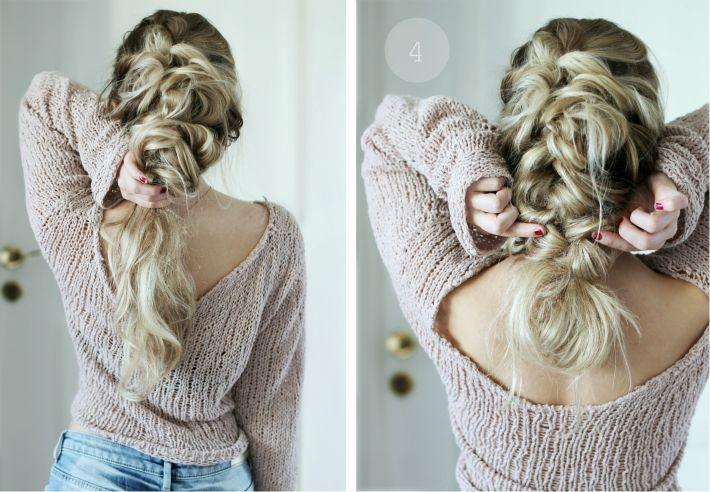 1. Börja med att locka håret, ta sedan en hårsektion på toppen av huvudet och gör en utbakad fläta. Har du kort hår så kan du fläta så långt det går och sen ho