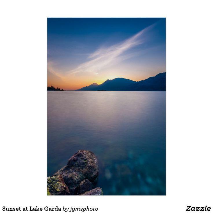 Póster Sunset at Lake Garda