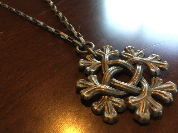 Early Kalevala Koru Pewter Leaf Pendant Necklace