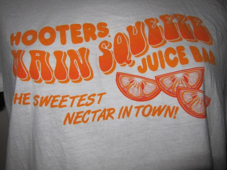 Jr Sz M Hooters Main Squeeze Juice Bar Sweetest Nectar T Shirt Columbus Oranges #Hooters #MainSqueeze #JuiceBar #SweetestNectar #Columbus