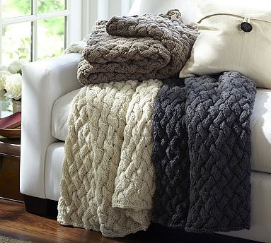 Day 2, Throw or Blanket for the Room: Pottery Barn Braided Hand Knit Throw in Heather Brown. #potterybarn
