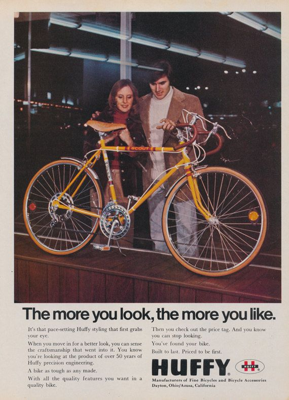 1975 Huffy Bicycle Ad Scout Yellow Bike Vintage Advertising Retro Wall Art Print