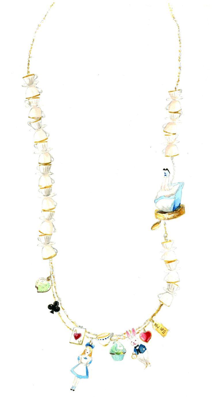 Dessin collier N2 Paris collection Le Tea Time d'Alice