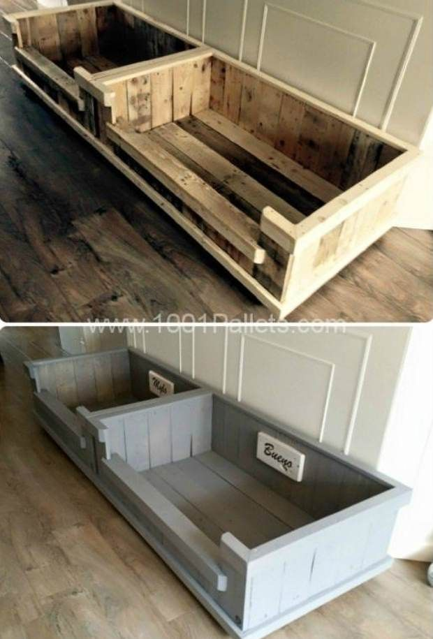 DIY Pallet Projects & Ideas | DIY Dog Bed | Amazing Do It Yourself Projects Made With Wooden Pallets | Living Room, Bedroom, Indoor and Outdoor, Kitchen, Patio. Coffee Table, Couch, Dining Tables, Shelves, Racks and Benches http://www.thrillbites.com/35-diy-pallet-projects-ideas