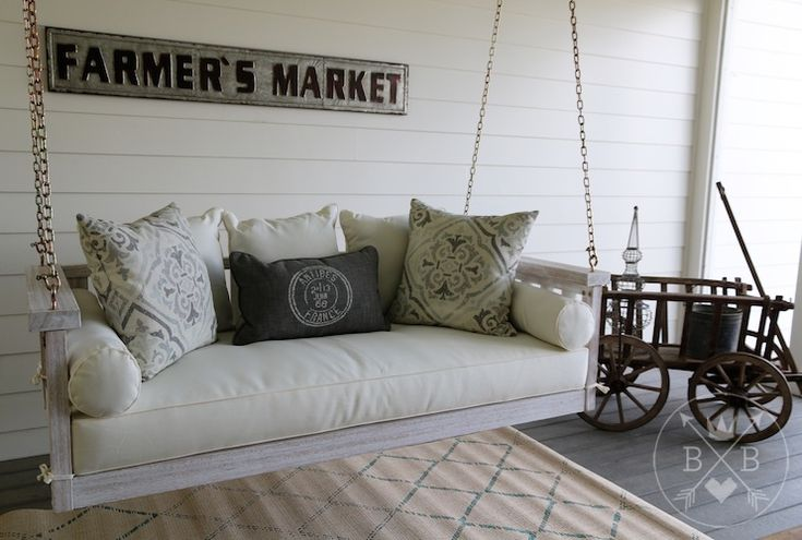 New on our porch today: the Sunday Porch Swing from Ballard Designs