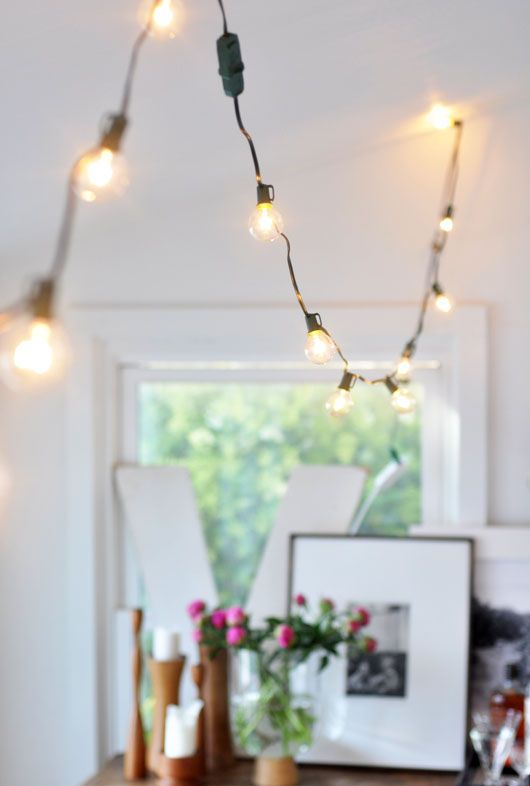 Decorating With Hanging Globe Lights Indoors//FIND LED, WHITE CORD, GLOBE LIGHTS FOR KITCHEN~ HELLO, SUMMER!