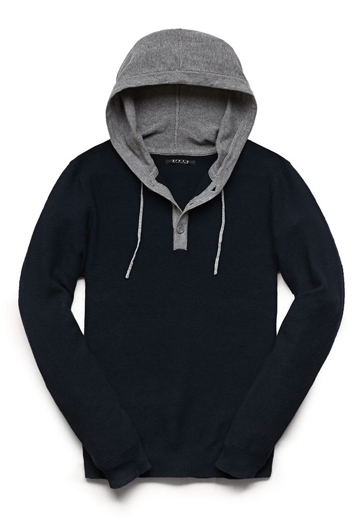 A Henley sweater featuring a heathered drawstring hood.