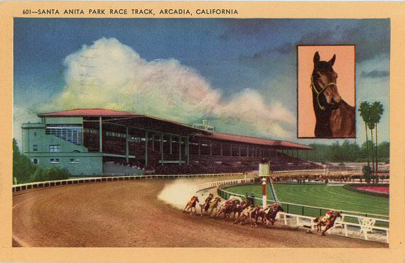 Early vintage linen postcard of the Santa Anita Park Horse Race Track in Arcadia, California. #HorseRace