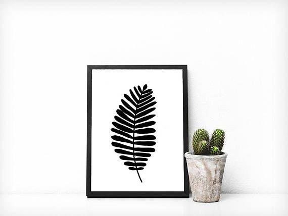 Simple Leaf Print  Black & White Illustration  Botanical