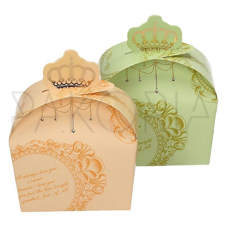Pudełko ROYAL PISTACJOWE  BRZOSKWINIOWE z koroną. Podziękowania dla gości, pudełeczko na cukierki. Na wesele ślub czy inną okazję, składane. Złote motywy, korona. Inspiracje na wesele pakoria.pl   Wedding thanks, green, orange, gold box with crown. Wedding inspiration.
