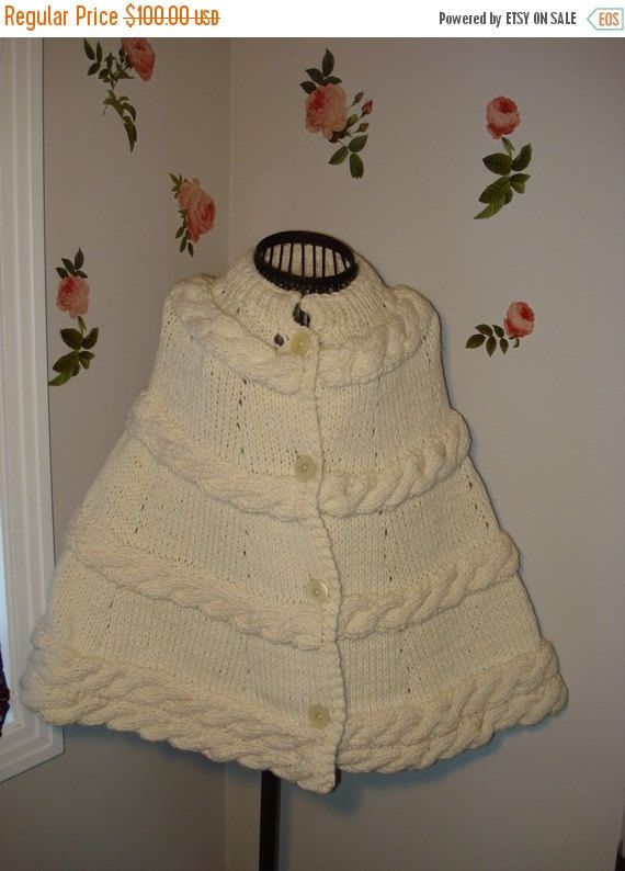 Knitted poncho, wedding shawl, poncho for women, Handmade Knitted Aran IVORY Chunky Poncho Cape All Seasons, Year Round Wear by ufer on Etsy
