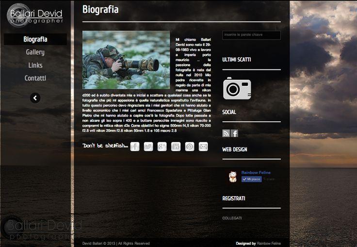 Sito web di fotografia realizzato per Devid Ballari  www.devidballari.it