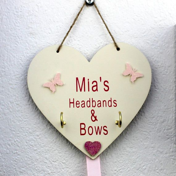 Bow Holder For Girls-Butterfly Nursery Decor -Personalised hair clip holder- Hair bow holder, Kids Clip Holder-Hair Accessories storage  £9.99