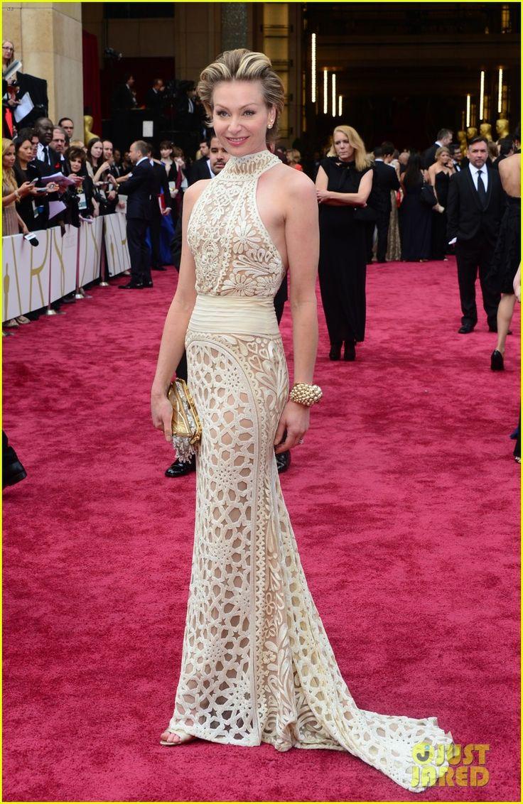 Portia De Rossi Supports Wife Ellen DeGeneres at Oscars 2014! Portia is wearing a Naeem Khan ivory honeycomb-beaded halter gown.