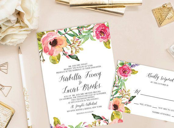 Floral wedding invitation - http://themerrybride.org/2015/06/20/wedding-invitations-on-etsy-com-2/