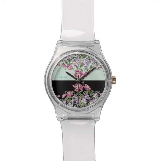 Floral Aqua+Black Print Fun watch