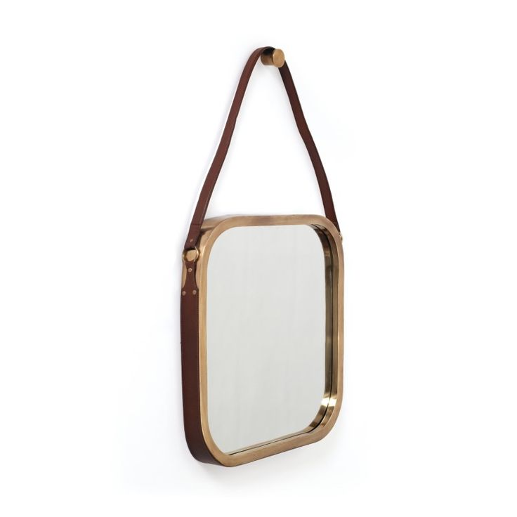 Brass Constantine Mirror With Leather Strap / Shed
