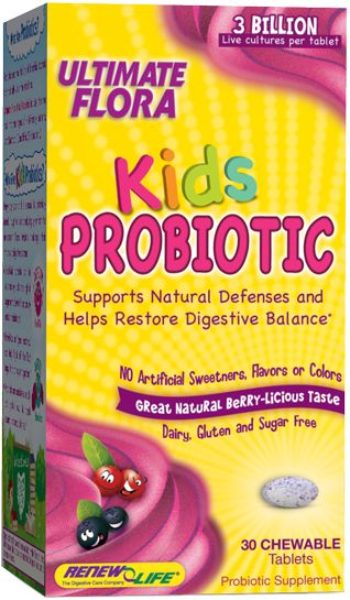 ReNew Life Ultimate Flora Probiotic for Kids. 30 tablets. My kids take this once per day at meal time.