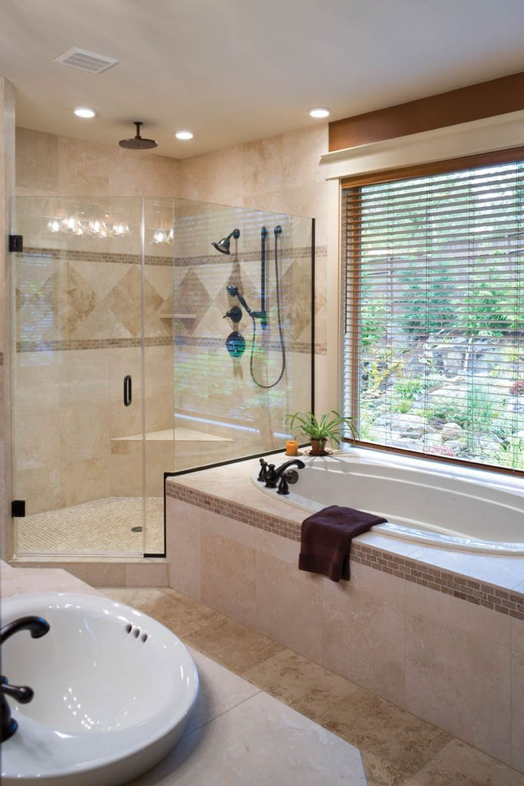 gorgeous tile and relaxing tub with a view plan 011d 0220 houseplansandmorecom homes with beautiful bathrooms pinterest tubs - Craftsman Bathroom 2016