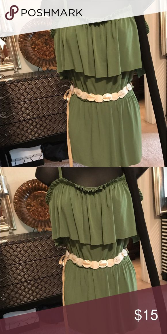 Lime green shirt Can be worn of shoulder or with strap Tops