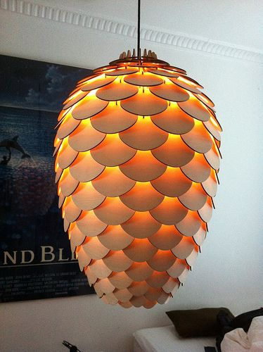 Pinecone Lamp //  Produced at Republikken CPH  The prototype is laser cut 3mm birch plywood. The lamp consists of 273 cut parts, and some light fixture stuff - designed by Jonas Lönborg