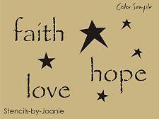 "Primitive Stencils for Free | Primitive STENCIL 1"" tall (faith hope love) Star Country Home Decor U ..."