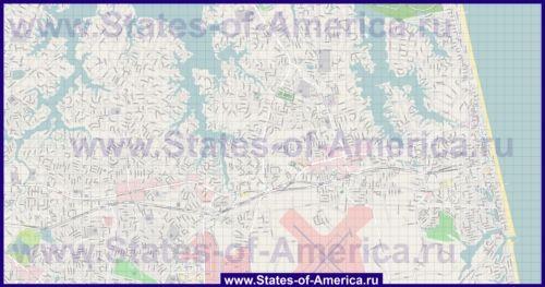Подробная карта города Вирджиния-Бич